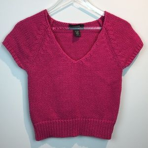 Express Pink Knit Cropped Sweater top
